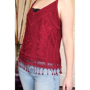 Forever 21 Red Embroidered Sleeveless Top